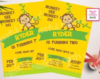 MONKEY BIRTHDAY INVITATION Monkey See Monkey Do Birthday Invitation, Monkey Birthday Invite, Monkey Invitation, Monkey, Second Birthday