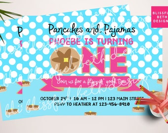 PANCAKES AND PAJAMAS, Pancake and Pajama Birthday Invitation, Printable Pancake Birthday Invitation, Morning Birthday, First Birthday