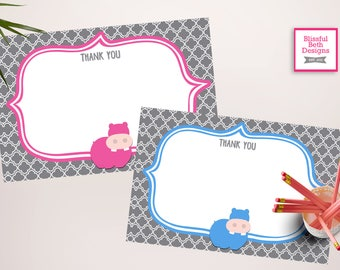 HIPPO THANK YOU Hippo Printable Thank You Note, Instant Hippo Thank You Note, Thank You Note, Hippo Baby Shower Thank You Note