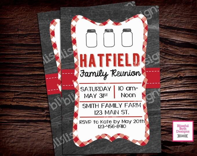 FAMILY REUNION Invitation Personalized Family Reunion Printable Invitation, Picnic Invite, BBQ Invite, Chalkboard Family Picnic Invitation
