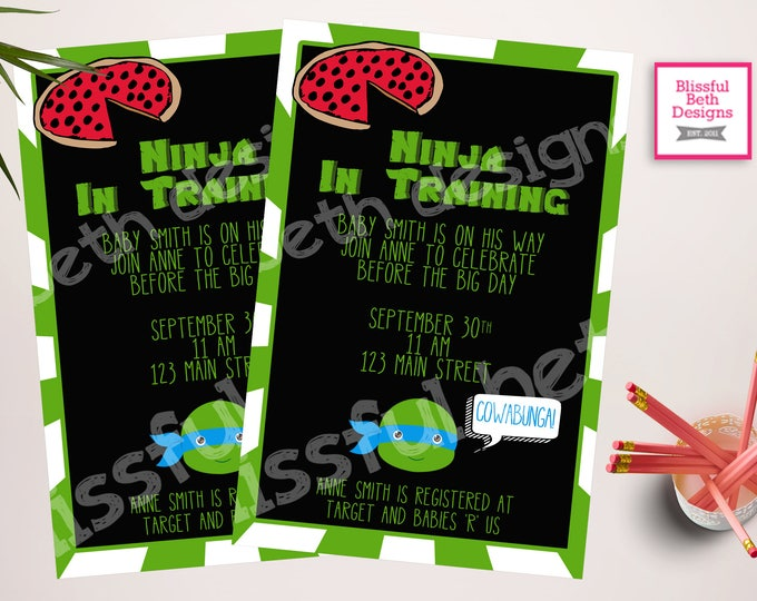 TMNT Baby Shower,  Teenage Mutant Ninja Turtle Baby Shower Invitation, TMNT Shower Invitation, TMNT Invite, Ninja In Training