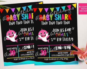 Baby Shark Invitation, Shark Birthday Invitation, Baby Shark Birthday, Shark Birthday, Baby Shark Two Two Two Two, Baby Shark