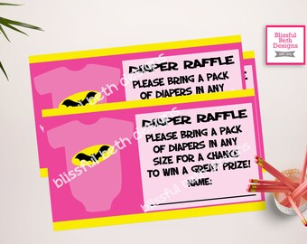 BATGIRL DIAPER RAFFLE Batgirl Diaper Raffle Ticket, Diaper Raffle Ticket, Shower Diaper Raffle, Batgirl, Batgirl Baby Diaper Raffle