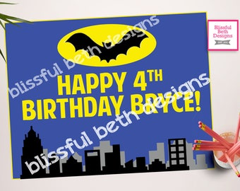 Batman Birthday Welcome Sign - Personalized Birthday Welcome Printable-Customizable  Sign for Batman Birthday Party, Batman Welcome Sign
