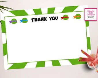 NINJA THANK YOU Ninja Turtle Printable Thank You Note, Instant Ninja Turtle Thank You Note, Thank You Note, Teenage Mutant Ninja Turtle Note
