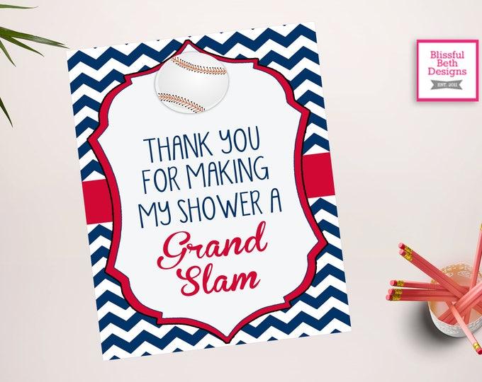 Grand Slam Sign - Thank You Baseball  Sign -Baseball Baby Shower - Baseball Shower - Baseball Shower - Little All Star