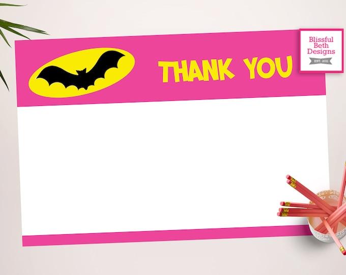BATGIRL THANK YOU, Batgirl Printable Thank You Notes, Instant Download, Instant Batgirl Thank You Note, Thank You Note, Batgirl Note