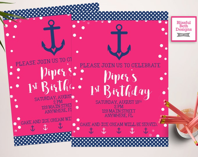 NAUTICAL GIRL BIRTHDAY,  Anchor Birthday, Nautical Birthday, Pink Anchor Birthday, First Birthday, Anchor First Birthday, Pink Navy Anchor