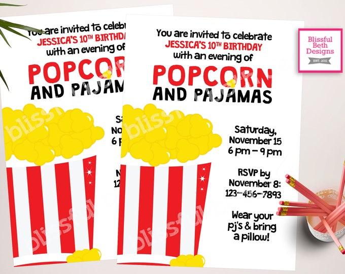 Popcorn and Pajamas Invitation, Popcorn and Pajamas, Sleep Over Invite, Movie Party, Printable Popcorn and Pajamas