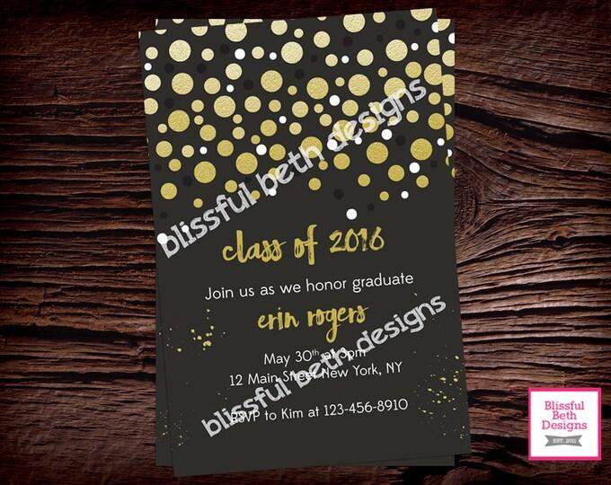 GRADUATION PARTY INVITATION, Graduation Party Invite, Graduation Invitation, Gold Polka Graduation Invite, Shimmery Gold Polka,Printable
