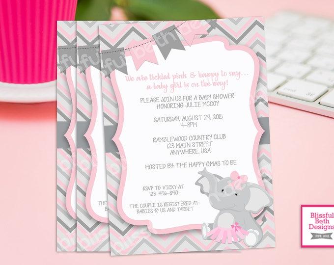 PINK ELEPHANT TUTU, Elephant TuTu Baby Shower Invitation, Elephant Baby Shower, Elephant Tutu, Elephant Shower Invitation, Baby Shower
