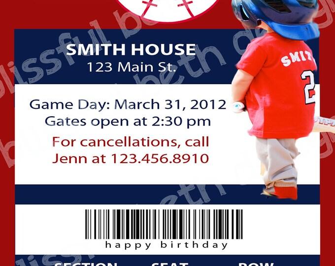 PERSONALIZED BASEBALL INVITATION Baseball Ticket Themed Birthday Invitation, Printable Baseball Birthday Invitation, Baseball Invite