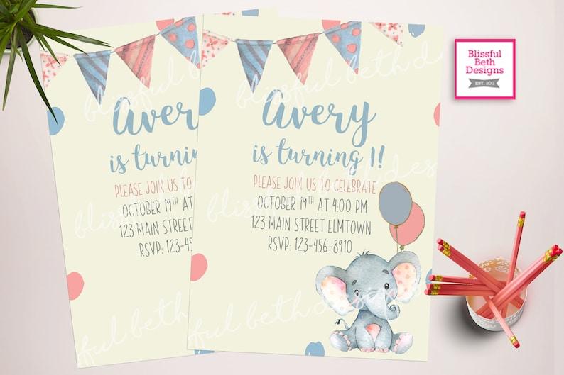 Baby Elephant Birthday Invitation