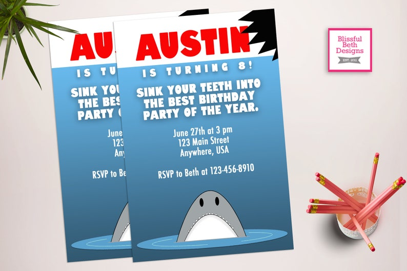 JAWS BIRTHDAY INVITATION Shark Birthday Invitation Printable