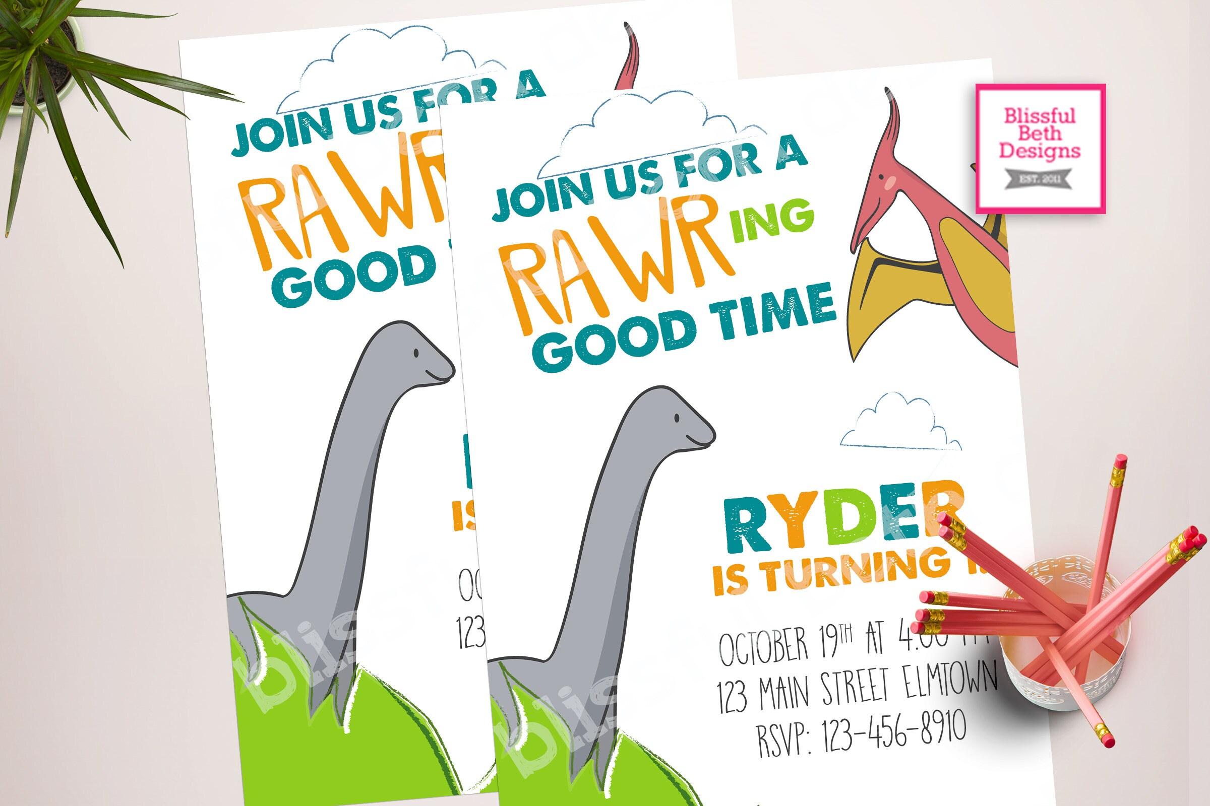 RAWRING GOOD TIME Dinosaur Birthday Invitation Dino Invite First