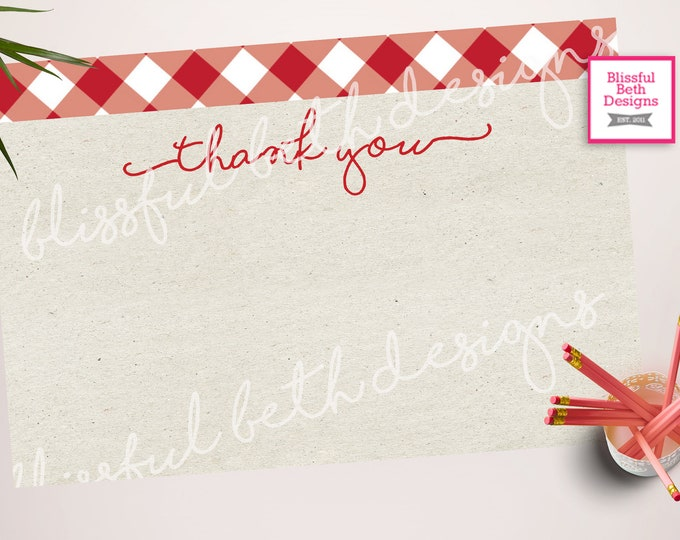 BBQ THANK YOU, Baby-Q Printable Thank You Notes, Instant Download, Instant Baby-Q Thank You Note, Thank You Note, Barbecue Note,