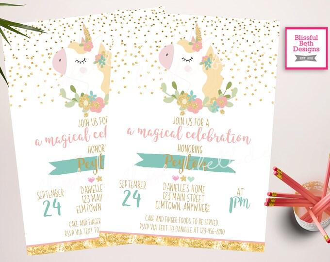 UNICORN BIRTHDAY INVITATION, Gold Unicorn, Sparkly Unicorn Invitation, Glitter Unicorn,  Magical Unicorn Invitation, Gold Unicorn Invitation