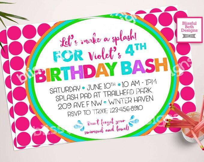 POOL PARTY INVITATION, Splash Birthday,  Birthday Bash, Girl Birthday Bash, Pink Polka Dot Birthday, Water Birthday, Splash Pad, Pool Party