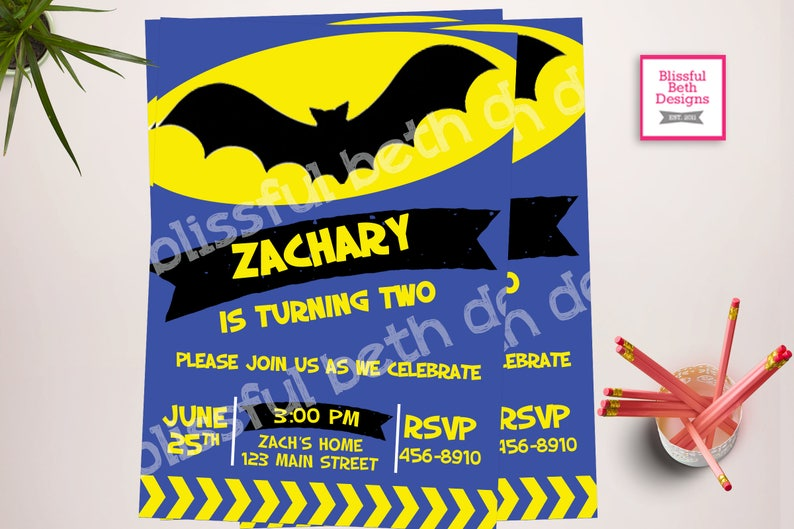 MODERN BATMAN INVITATION Personalized Blue Batman Printable