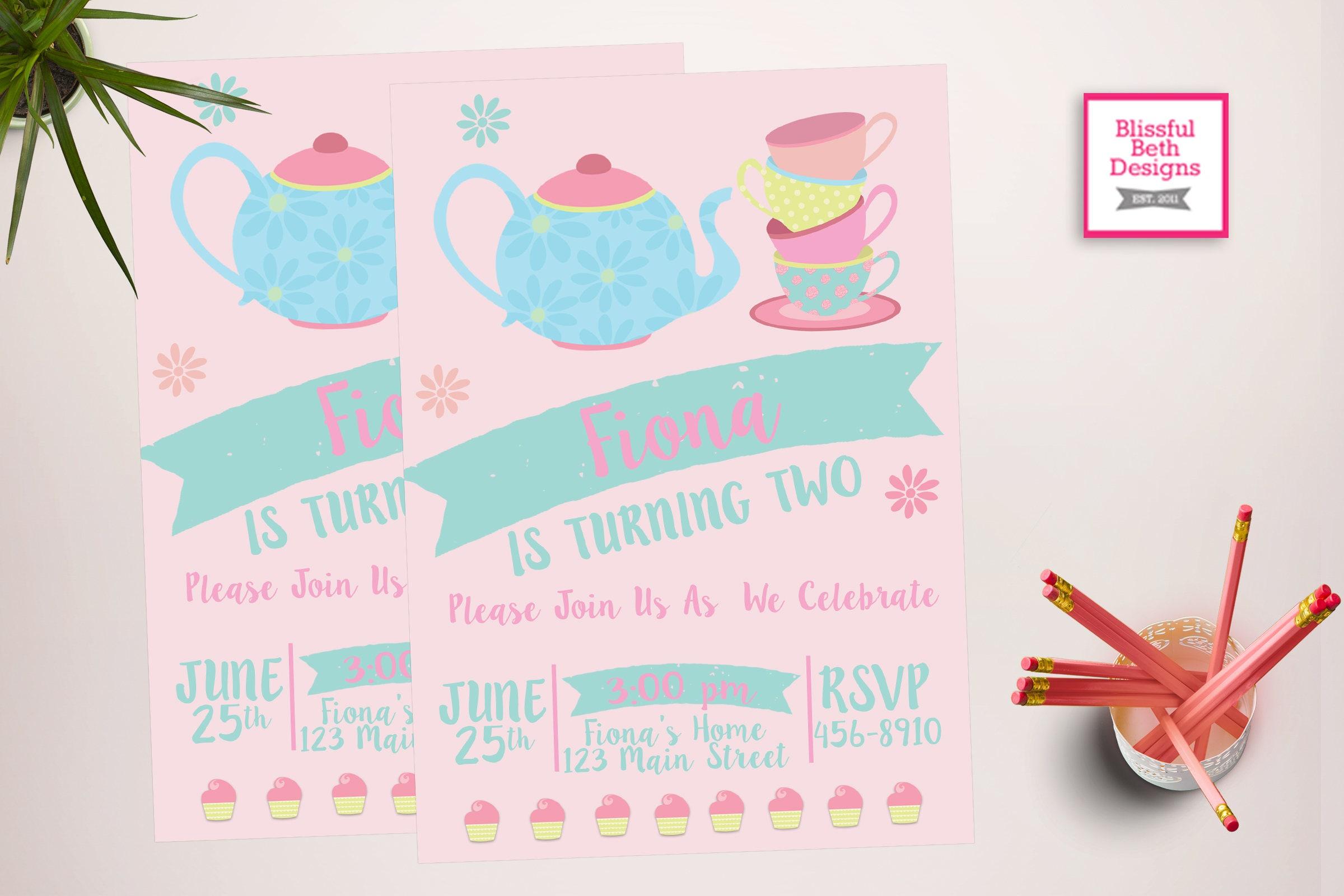 TEA PARTY INVITATION Tea Party Birthday Invite Printable Shabby Chic Invitation Par
