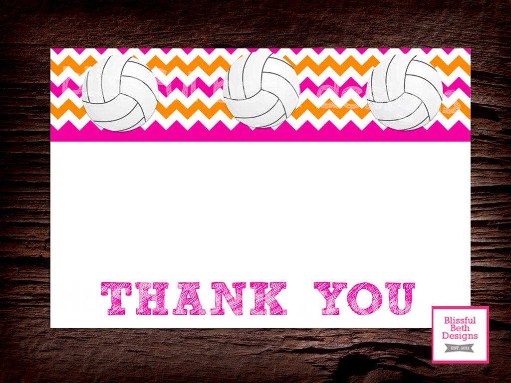 Voleibol voleibol para imprimir notas de agradecimiento | Etsy