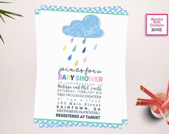 """RAINDROP BABY SHOWER, Baby """"Shower"""" Invitation, Raindrop shower,  rain shower invite, rain shower invitation, Raindrop, raindrops, rain"""