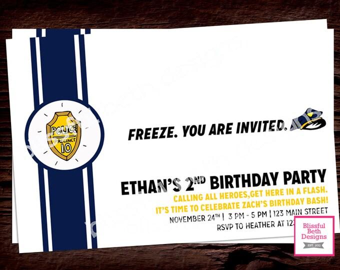 MODERN POLICE BIRTHDAY Invitation, Printable Police Birthday Invitation, Police Birthday Invitation, Police Birthday Printable, Hero