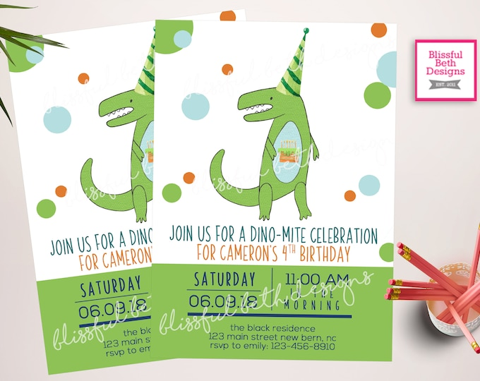 Dinosaur Invitations, Dinosaur Birthday Invitations, Dinosaur Party Invitation - Dino Party Invitations, Cake-o-saurus, Dinosaur Birthday