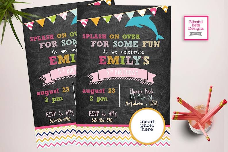 Dolphin Birthday Invitation Printable