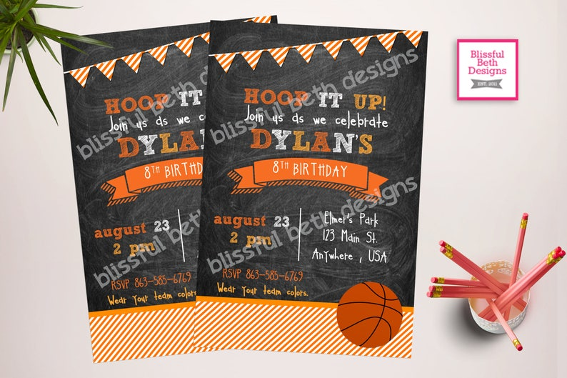 BASKETBALL BIRTHDAY INVITATION Basketball Birthday Invitation