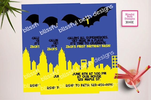 BATMAN BIRTHDAY INVITATION Personalized Blue Batman Birthday Invitation Bat Gotham