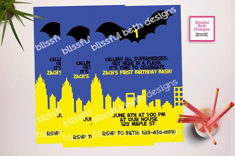 BATMAN BIRTHDAY INVITATION Personalized Blue Batman Birthday
