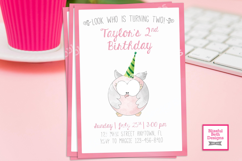 Owl Birthday Invitation Pink Owl Birthday Invitation Owl Etsy