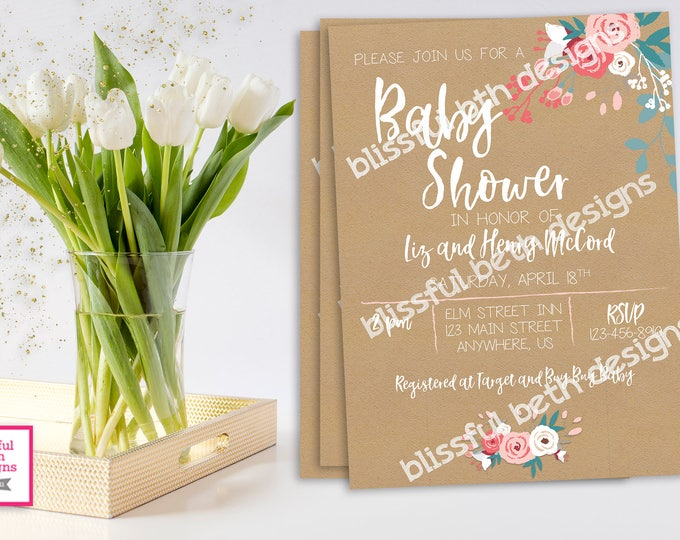 Shabby Style Rose Baby Shower, Pastel Floral Shower, Pink Rose Baby, Watercolor, Watercolor Flowers, Spring Baby Shower, Rose Baby Shower,