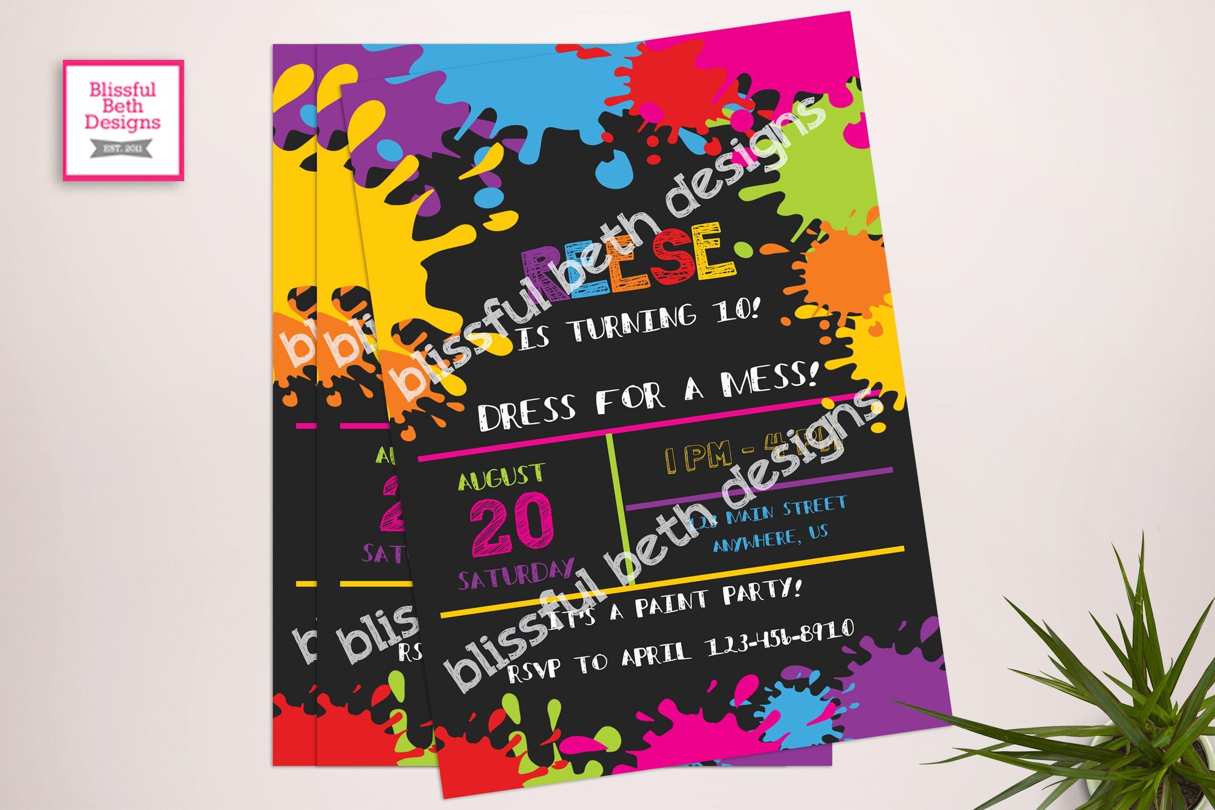 Art Birthday Party Invitation / Art Party Invitation / Messy ...