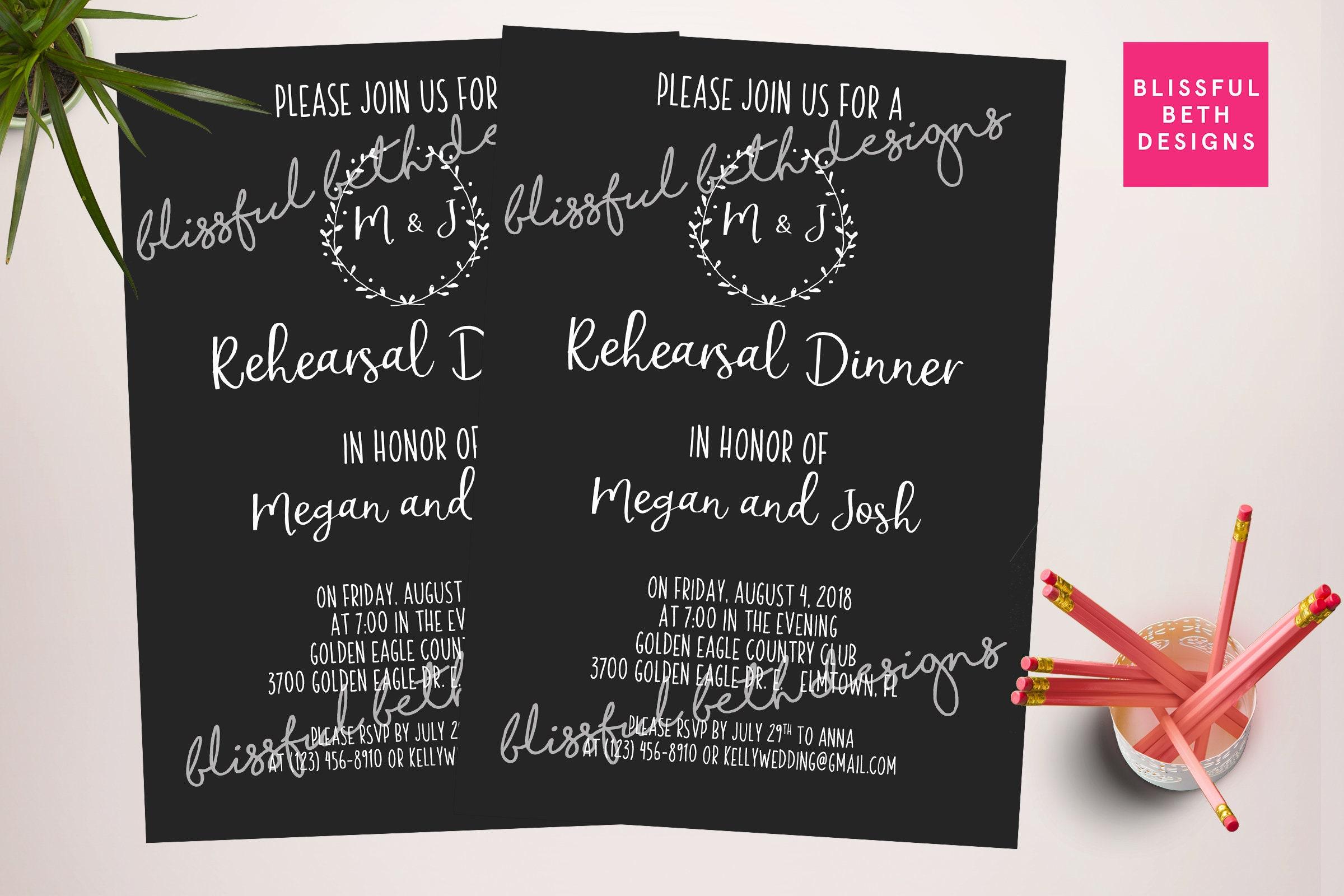 black wedding rehearsal dinner invitation printable rehearsal