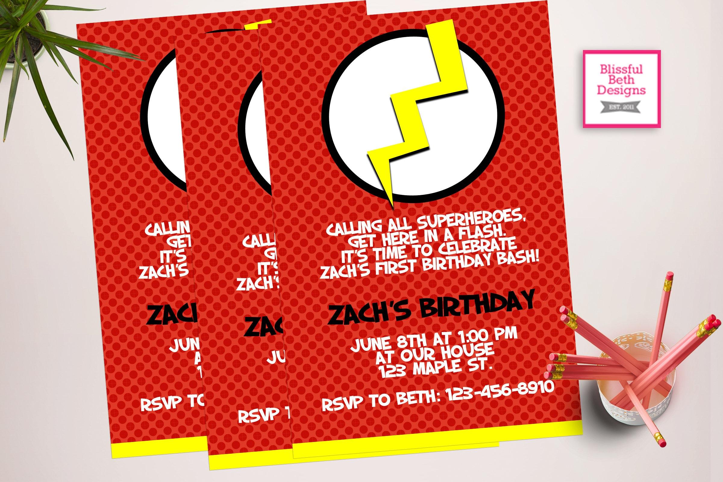 FLASH BIRTHDAY INVITATION Personalized Flash Printable | Etsy