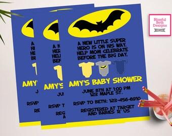 BATMAN BABY SHOWER, Batman Baby Shower Invitation, Batman Shower Invitation, Batman Invite, Baby Batman, Batman Baby, Batman Shower Invite