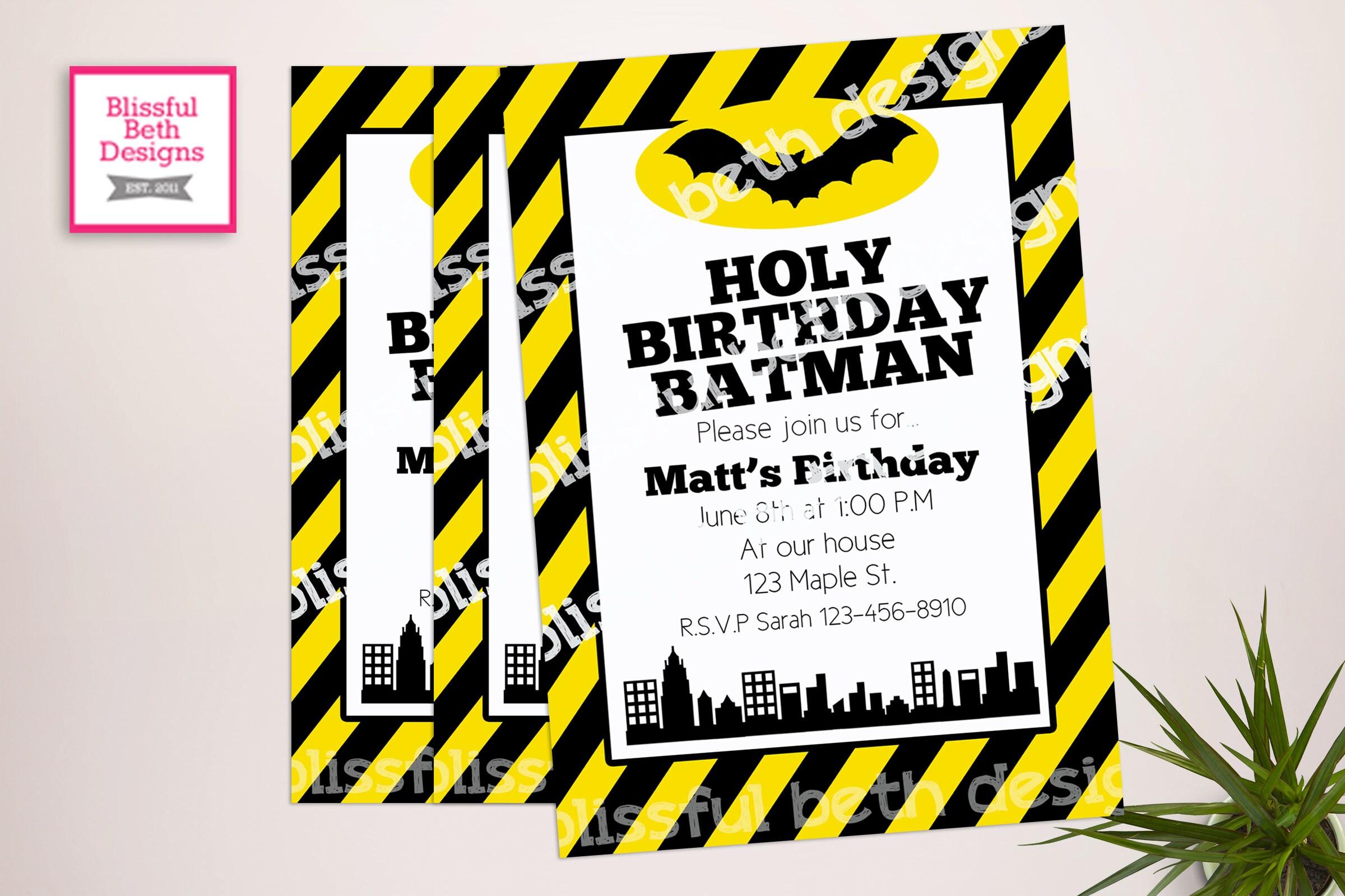 BATMAN BIRTHDAY INVITATION, Striped Batman Birthday Invitation ...