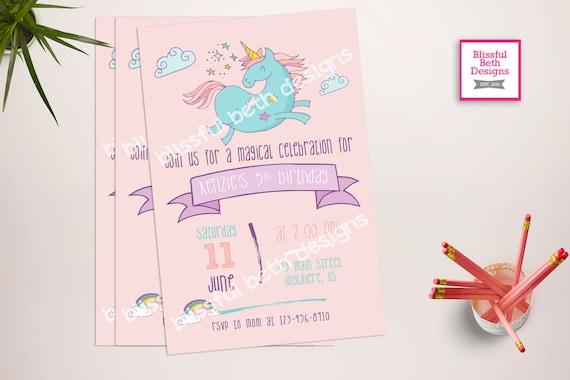 Unicorn Birthday Invitation Printable Unicorn Invitation Etsy