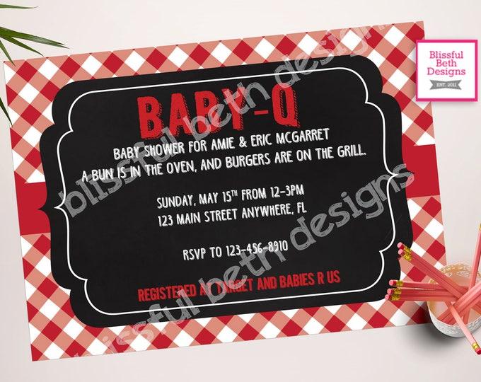 Baby-Q Baby Shower Invitation Package BABY-Q Shower Invitation Bun in the Oven, Burgers on the Grill Baby-Q, BBQ