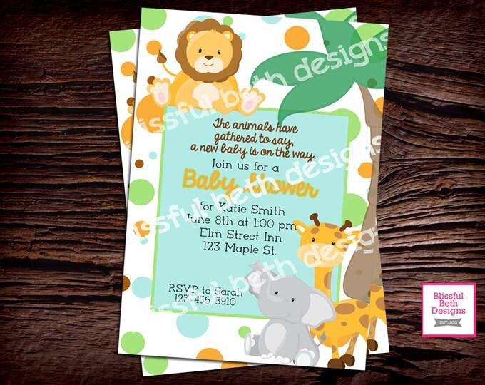 SAFARI BABY SHOWER, Animal Baby Shower Invitation, Pastel Safari Invitation, Animal Baby Shower, Safari Baby Shower, Safari Baby