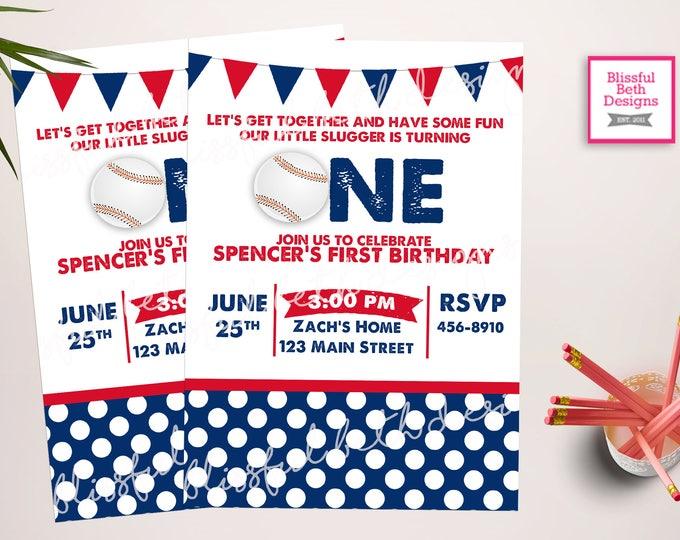 LITTLE SLUGGER INVITATION  Baseball First Birthday Invitation, Printable Baseball First Birthday Invitation, Baseball Birthday Invite