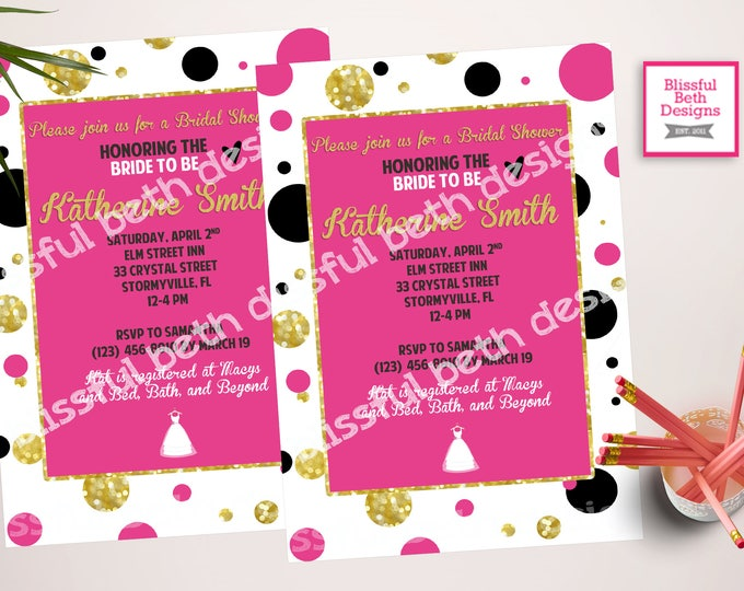PINK GOLD SHOWER, Pink and Gold Bridal Shower, Bridal Shower, Gold and Pink, Gold and Pink Bridal Shower, Polka Dot Bridal Shower