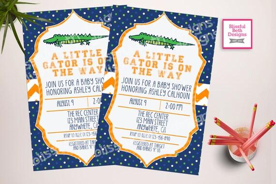 Gator Bebé Ducha Gator Bebé Ducha Invitación Florida Bebé Ducha Invitación Ducha De Gator Invitación De Gator Cocodrilo Cocodrilo Ducha