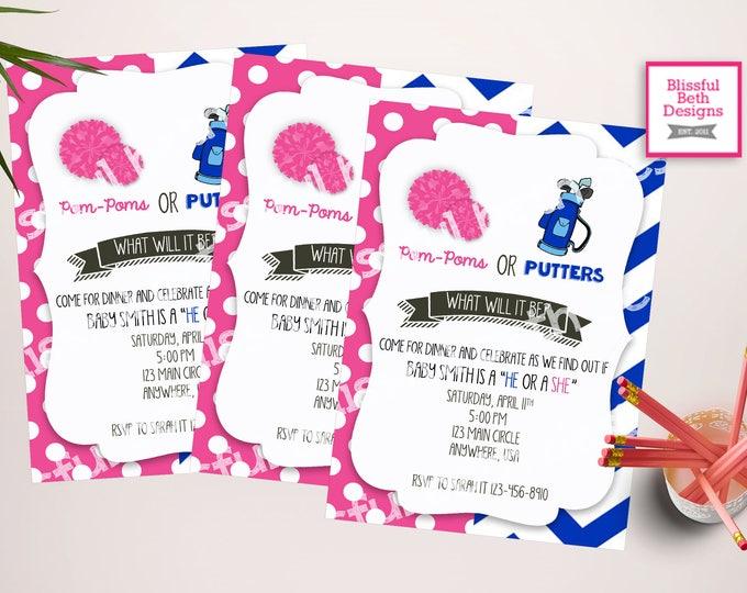 GENDER REVEAL PARTY, Pom-Poms or Putters Gender Reveal Invitation, Pink and Blue Gender Reveal Package, Gender Reveal Party, Boy or Girl