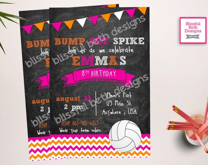 BUMP SET SPIKE Volleyball Birthday Invitation, Printable Volleyball Birthday Invitation, Volleyball Birthday Invite, Volleyball