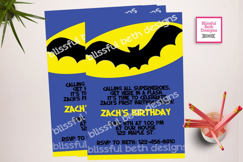 BATMAN BIRTHDAY INVITATION Personalized Blue Batman Printable