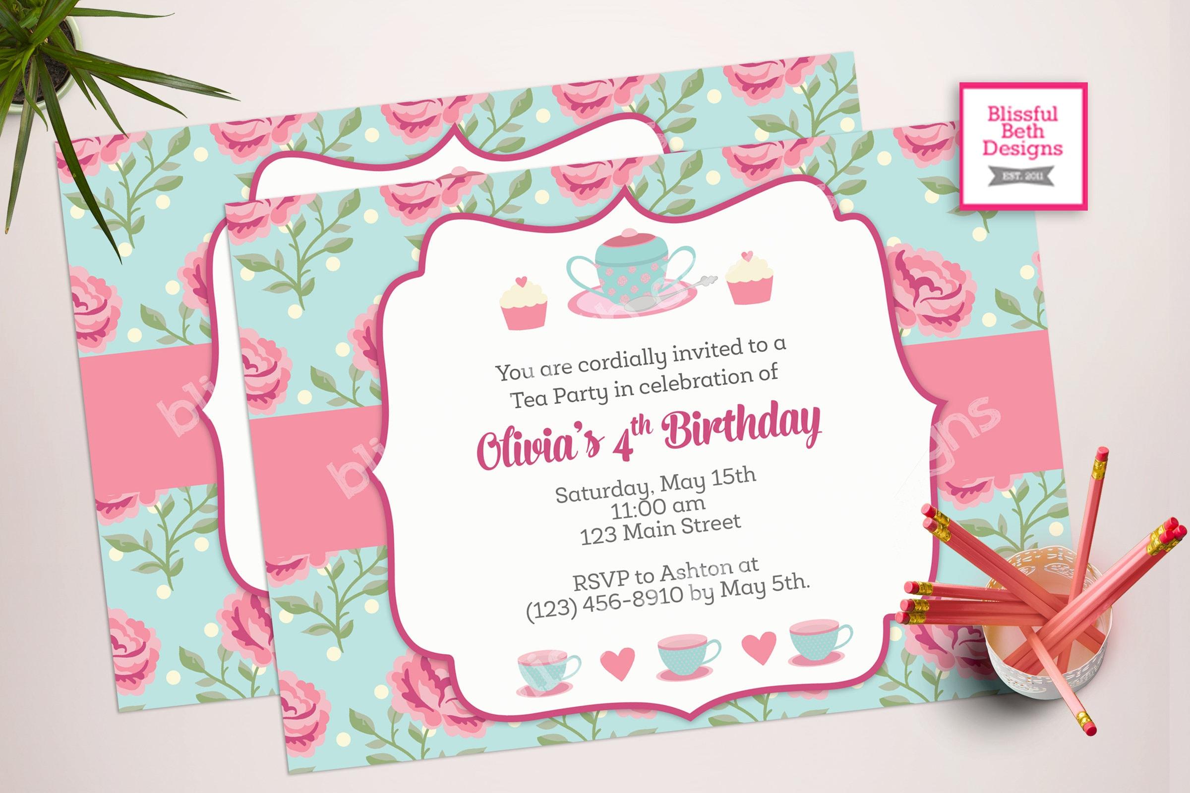 SHABBY CHIC TEA Tea Party Birthday Invite Printable Shabby Chic Invitation Par