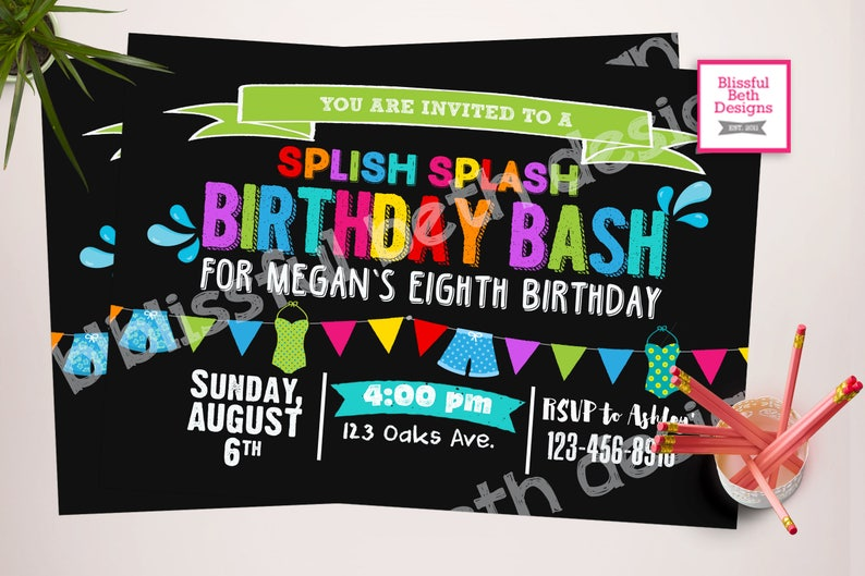 POOL PARTY INVITATION Birthday Pool Party Invitation